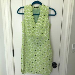 Tibi Geometric Silk Shift Dress